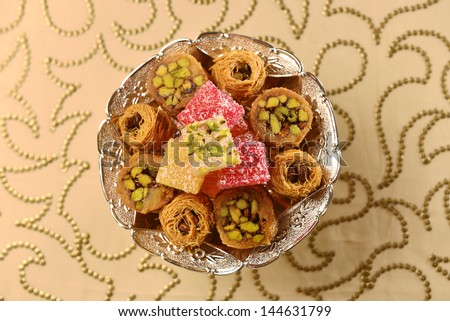 Assorted middle eastern sweets. - stock photo