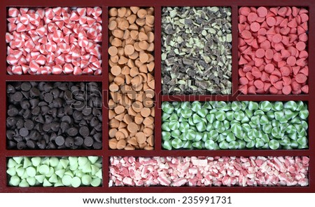 Assorted mix flavored nipple chips isolated on white  - stock photo