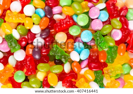 Assorted mix of colorful candies and jellies