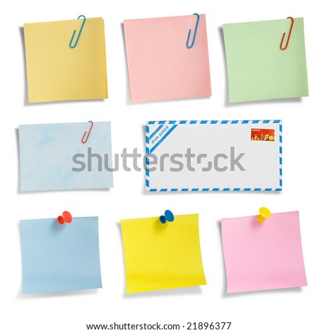 Assorted note papers with thumbtacks and clips,  clipping path excludes the shadow.