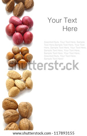 Assorted nuts background with almonds, hazelnuts, walnuts, pecans and brazil nuts over white with sample text - stock photo