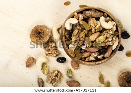 Assorted nuts, dry fruits, mix nuts  - stock photo