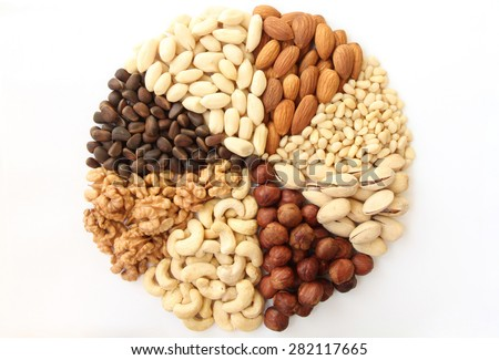 Assorted nuts in the form of a circle (peanuts, almonds, hazelnuts, pine nuts, cashews, walnuts, pistachio) on a white background - stock photo