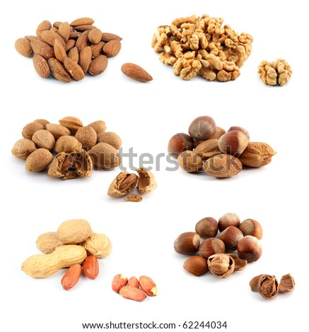 Assorted nuts, isolated on white background - stock photo
