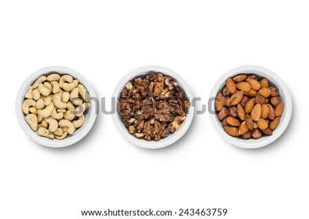Assorted nuts isolated on white background. Isolated on white background.