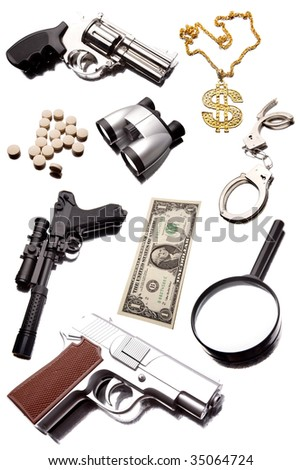 Assorted objects on white background