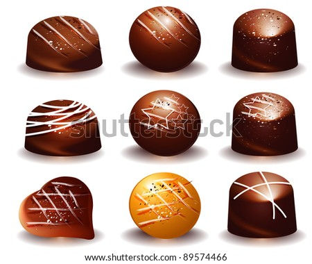 assorted of Delicious dark and milk chocolate truffles , Raster version - Vector version is also available. - stock photo