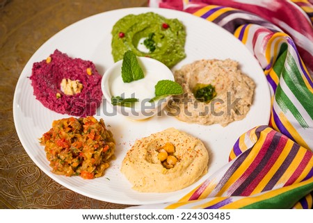 assorted of oriental food on the table - stock photo