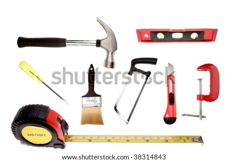 Assorted of work tools on white background
