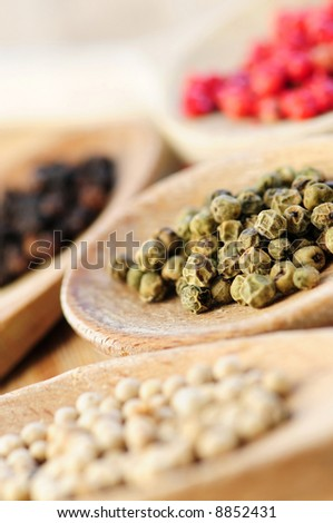 Assorted peppercorns in wooden cooking spoons macro