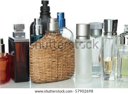 Assorted Perfumery  Perfume bottles in a white background