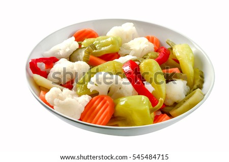 Assorted pickled vegetables in bowl/plate,clipping path.