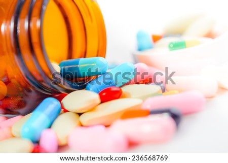 Assorted pills - stock photo
