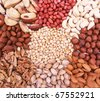Assorted pine nuts, filbert, peanut, pistachios, walnut, almonds and  hazelnuts on natural sackcloth can use as background - stock photo