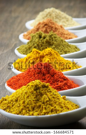 Assorted powder spices close-up. Shallow DOF. - stock photo
