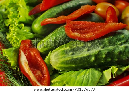 Assorted raw organic vegetables for healthy eating. Tomatoes, cucumbers, peppers and lettuce close up.