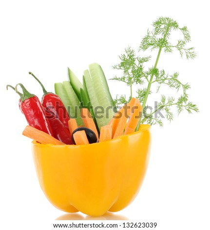 Assorted raw vegetables sticks in pepper bowl isolated on white - stock photo