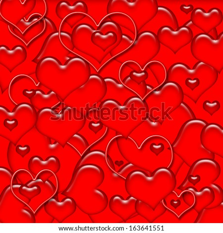assorted red Valentine hearts on red background illustration - stock photo