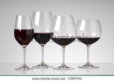 assorted red wine glasses - stock photo