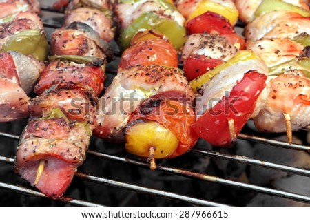 Assorted Roasted Meat with Vegetable On The Hot Barbecue Charcoal Grill