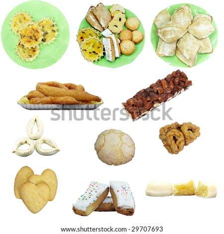 Assorted Sardinia sweets isolated over white background