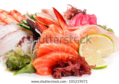 Assorted Sashimi great. Salmon, octopus, shrimp, yellowtail, clam, tuna, perch