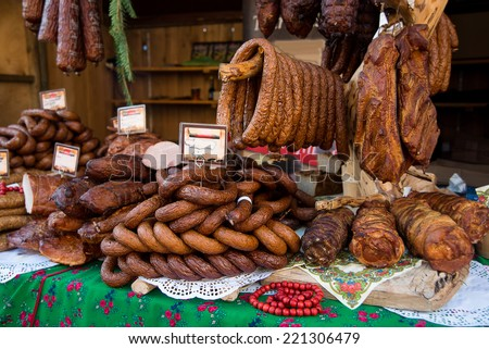 Assorted several kinds of sausages and smoked meats, smoked meat - stock photo