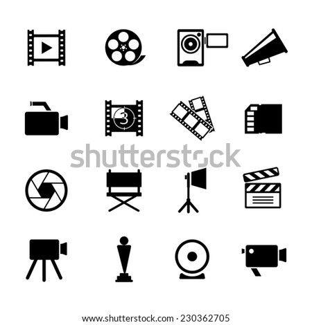 Assorted Simple Black and White Video Icon Graphic Designs. - stock photo