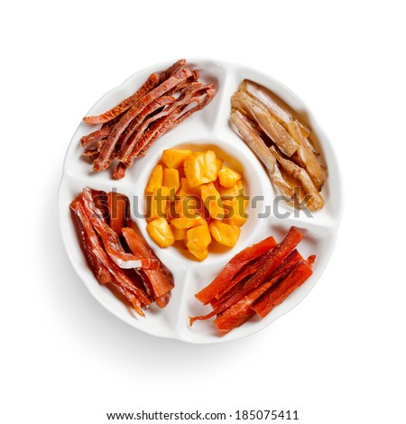 assorted smoked fish isolated on white background - stock photo