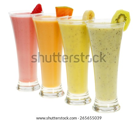 Assorted smoothies isolated on white - stock photo