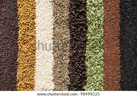 Assorted spices - stock photo