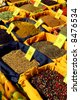 Assorted spices for sale on french farmers market in Perigueux, France - stock photo