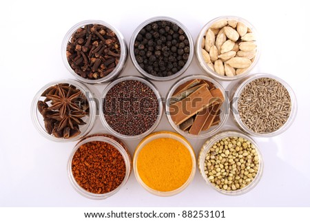 Assorted spices on white - stock photo