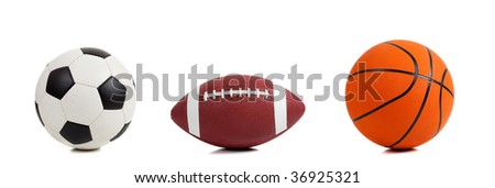 Assorted sports ball on a white background with copy space