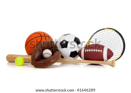 Assorted sports equipment including a basketball, soccer ball, tennis ball, baseball, bat, tennis racket, football and baseball glove on a white background - stock photo