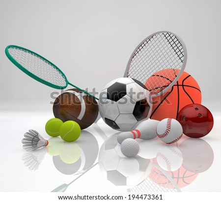 Assorted sports equipment including a basketball, soccer ball, tennis ball, baseball, tennis racket, football, birdie, badminton racket , bowling pin and ball on a violet background