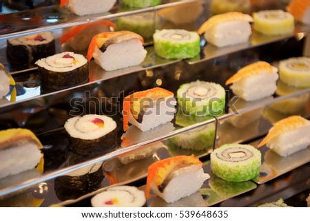 Assorted Sushi rolls in buffet restaurant