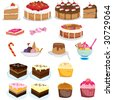 assorted sweets and desserts - stock vector