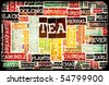 Assorted Teas Menu as a Food Drink Background - stock vector