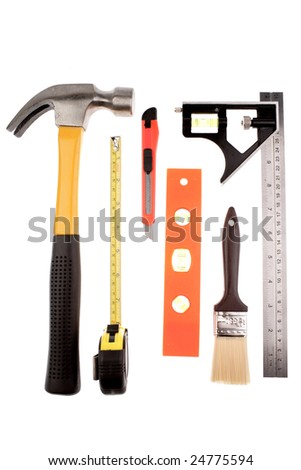 Assorted tools isolated on white