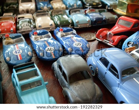 Assorted toy cars at a store - stock photo
