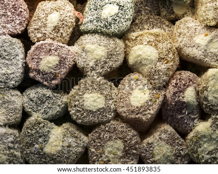 Assorted traditional turkish delight  - stock photo