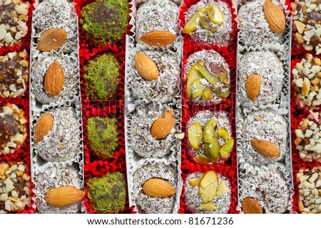 Assorted Turkish Delight bars in a box (Lokum soft candies) - stock photo