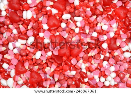 assorted valentines candy background - stock photo