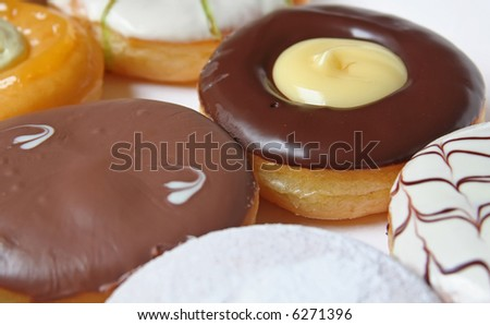 Assorted variety of donuts in a box