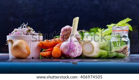 Assorted vegetable. Healthy lifestile. Green concept. - stock photo