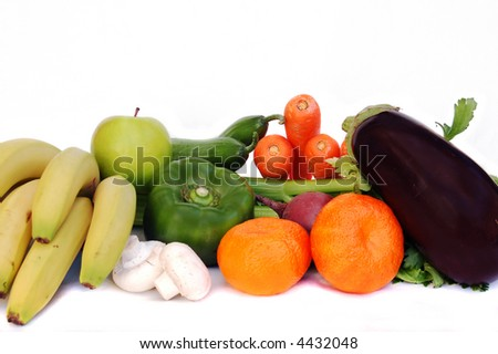 assorted vegetables and fruits isolated on white - stock photo
