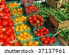 Assorted vegetables at a farmers market - stock photo