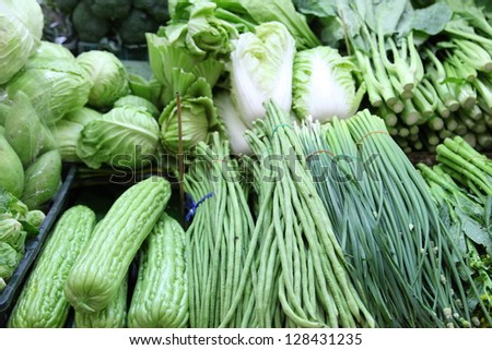 Assorted vegetables in thai market - stock photo