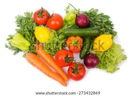 Assorted vegetables isolated on the white - stock photo